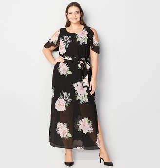Avenue Cold Shoulder Flower Maxi Dress