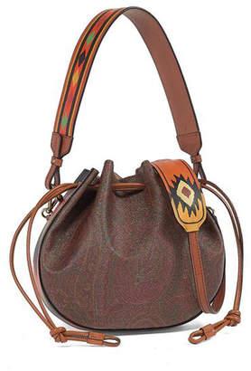 Etro Paisley Drawstring Leather Bucket Bag