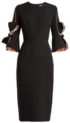 Roksanda Lavette Bow Trimmed Crepe Dress - Womens - Black Multi