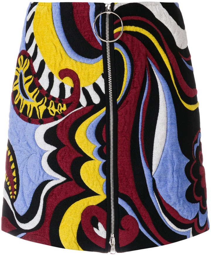 Emilio Pucci embroidered zipped skirt