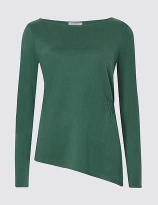 Marks and Spencer Modal Rich Asymmetric Long Sleeve T-Shirt