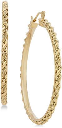 Italian Gold Rope Chain Hoop Earrings in 14k Gold
