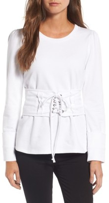 Women's Trouve Lace-Up Corset Sweatshirt $79 thestylecure.com