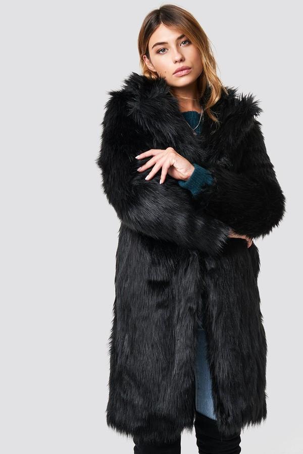 Linn Ahlborg X Long Faux Fur Coat Black