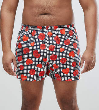 Asos Design PLUS Woven Boxers In Gingham With Hearts & Roses Print