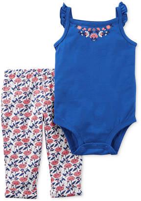 Carter's 2-Pc. Cotton Floral Bodysuit & Printed Pants Set, Baby Girls