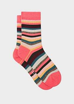 Paul Smith Women's Pink And Glitter 'Artist Stripe' Socks