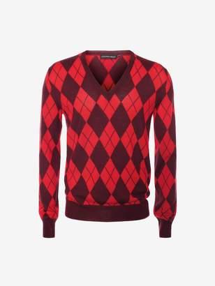 Alexander McQueen Intarsia Argyle V-Neck Sweater