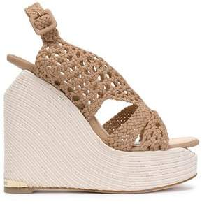 Paloma Barceló Woven Leather Platform Wedge Sandals