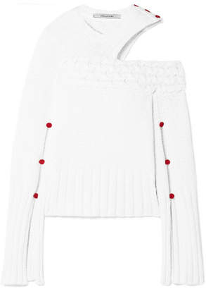 Hellessy Johannes Button-embellished Cutout Cotton Sweater - White