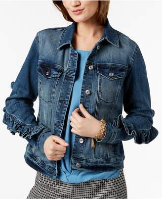 INC International Concepts I.n.c. Ruffled-Sleeve Denim Jacket, Created for Macy's