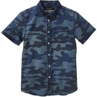 Hollywood Boys' Short Sleeve Camo Printed Denim Button-Down Shirt