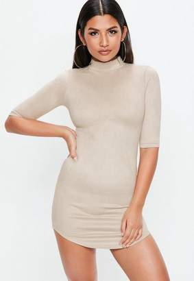 Missguided Nude High Neck Bonded Suede Mini Dress
