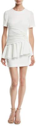 Cinq à Sept Fontaine Crewneck Flounce Mini Dress