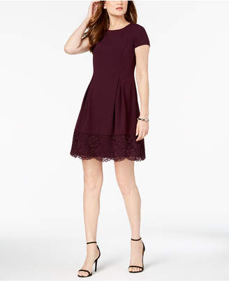 Jessica Howard Petite Lace-Trim Fit & Flare Dress