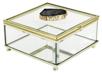 Jay Import Black/Gold Agate Detail Glass Box