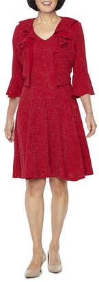 Danny & Nicole 3/4 Bell Sleeve Glitter Knit Jacket Dress