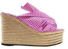 N°21 N21 Knotted Gingham Satin Espadrille Wedge Sandals
