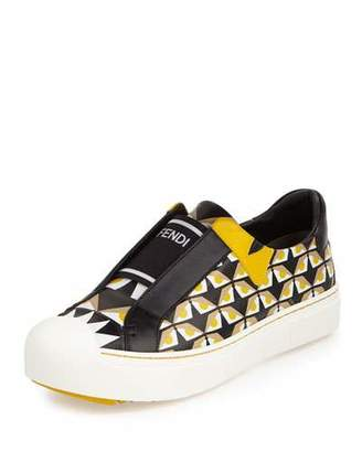Fendi Bug Eyes Slip-On Sneaker, Black/Yellow $700 thestylecure.com