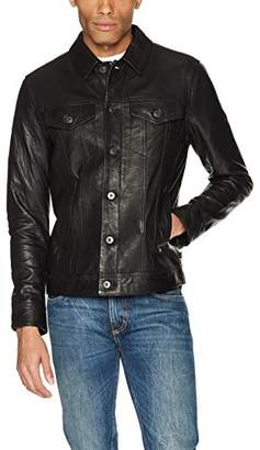 AG Adriano Goldschmied Men's Kent Leather Trucket Jacket