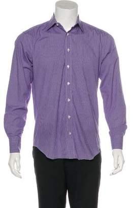Barneys New York Barney's New York Patterned Trim Fit Dress Shirt