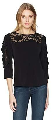 Nanette Lepore Nanette Women's 3/4 Ruffle SLV Lace Mix Knit Top