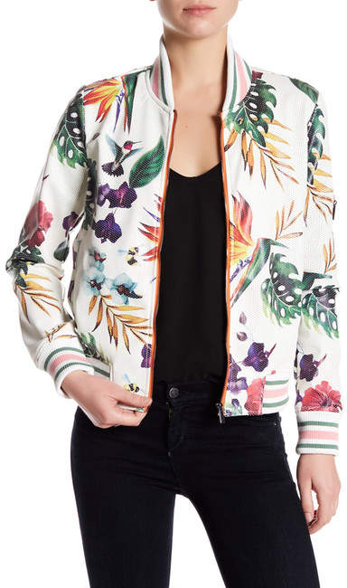 BagatelleBagatelle Perforated Tropical Printed Faux Leather Jacket