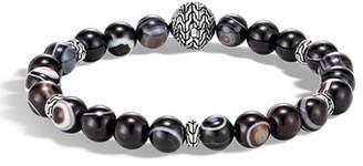 John Hardy Men's Classic Chain Silver Bead Bracelet w/ Agate