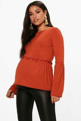 boohoo Maternity Abi Bell Sleeve Smock Top