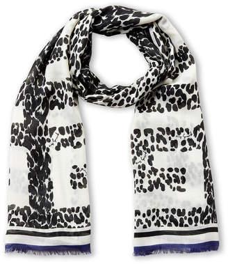 Givenchy White & Blue Leopard Logo Cashmere Scarf