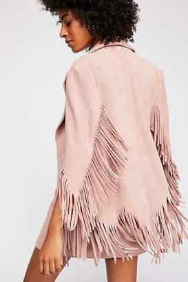 Understated Leather Dusty Pink Fringe Blazer