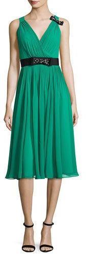 Kate SpadeKate Spade New York Sleeveless Shirred Silk Chiffon Midi Dress, Emerald Ring