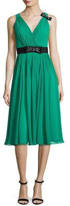 Kate Spade New York Sleeveless Shirred Silk Chiffon Midi Dress, Emerald Ring $448 thestylecure.com