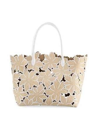 Nancy Gonzalez Medium Floral Straw Tote Bag