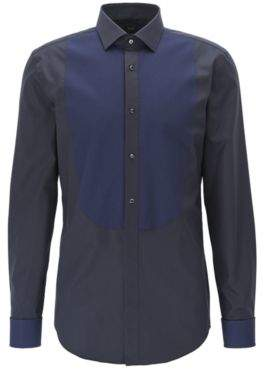 HUGO BOSS Two-Tone Tuxedo Shirt, Slim Fit Jant 15 Dark Blue