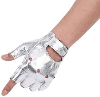 JISEN Men PU leather Punk Half Finger Hollow Out Gloves