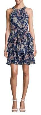 Eliza J Tiered Floral-Print Mini Dress