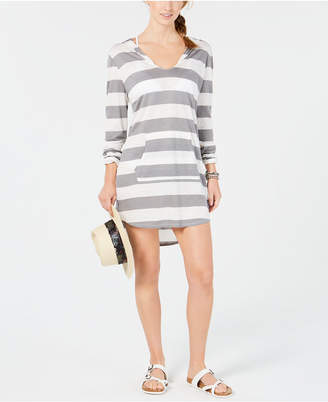 Miken Juniors' Striped Long-Sleeve Hoodie Cover-Up Women's Swimsuit