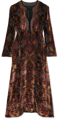 Etro Flocked Georgette Midi Dress - Black