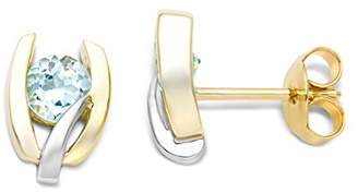 Miore 9ct Two Colour Gold Blue Topaz Stud Earrings MH9060E frZWy8