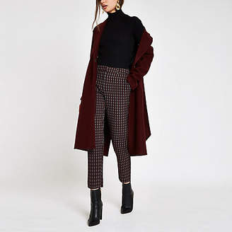 River Island Womens Burgundy check straight leg trousers