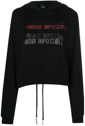 Pinko Amour Impossible rhinestone hoodie