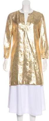 Tory Burch Metallic Silk-Blend Tunic