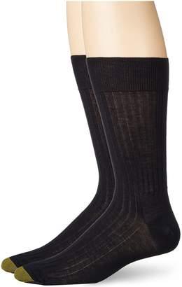 Gold Toe Men's Comfort Top Non-Elastic English Rib Crew 2 Pack S6