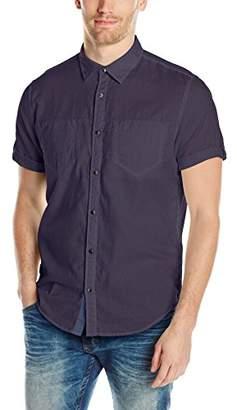 Calvin Klein Jeans Men's Short Sleeve Roll Tab Double Pocket Button Down Shirt