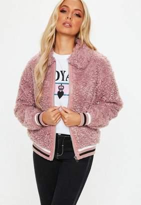 Missguided Pink Sports Rib Shaggy Borg Teddy Jacket