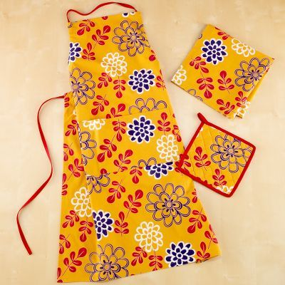 Dijon Tropical Flower Apron, Set of 2 Potholders or Set of 4 Napkins