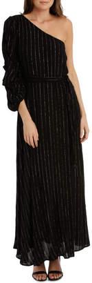 Black/Gold One Shoulder Maxi Dress