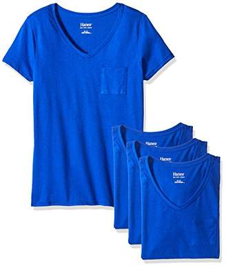 Hanes Women's Short Sleeve Jersey V-Neck Pocket Tee (Pack of 4)