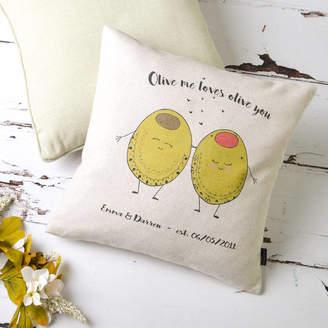 Vintage Designs Reborn 'Olive Me Loves Olive You' Personalised Cushion Cover